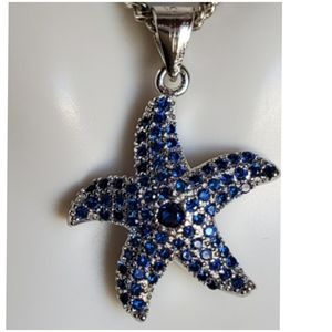 Jewelry - Blue Sapphire Pave Starfish Pendant/Necklace